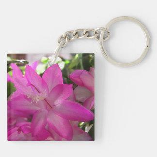 Pink Flowering Cactus Key Ring