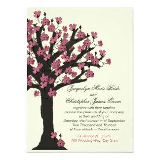 Pink Flowering Dogwood Tree Wedding 14 Cm X 19 Cm Invitation Card