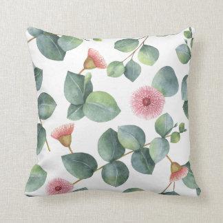 Pink Flowering Eucalyptus Leaves Pattern Cushion