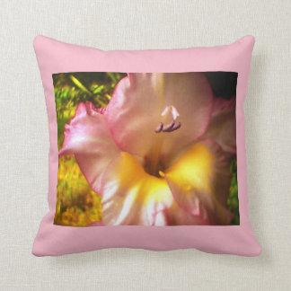 Pink Flowering Purple Whiskered Throw Pillow