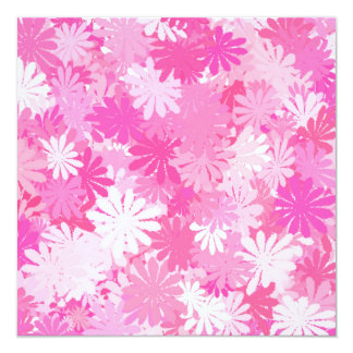 Pink flowers 13 cm x 13 cm square invitation card