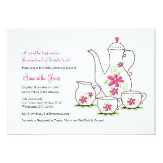 Pink Flowers, 5x7 Tea Party Invitations