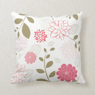 pink flowers abstract throw pillow