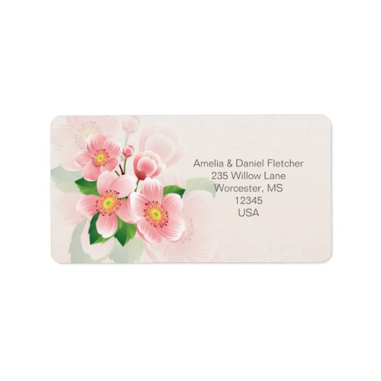Pink flowers Address Avery Label