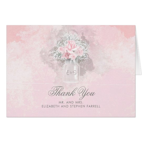 Pink Flowers and Baby's Breath Wedding Thank You