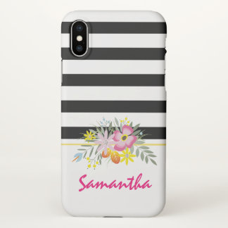 Pink flowers and black, white stripes iPhone x case