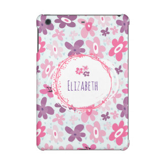 Pink Flowers and Blue Hearts Cute Personalized
