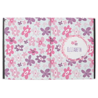 "Pink Flowers and Blue Hearts Cute Personalized iPad Pro 12.9"" Case"