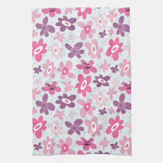 Pink Flowers and Blue Hearts Cute Whimsical Tea Towel