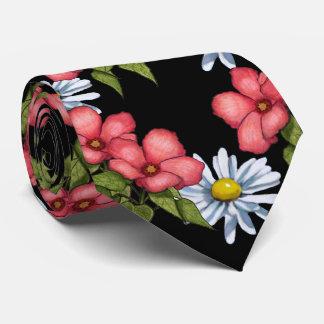 Pink Flowers and Daisies on Black, Artwork Tie