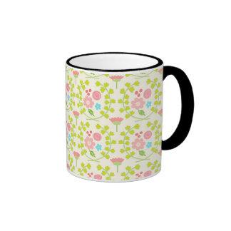 Pink flowers and green vines leaves ringer mug