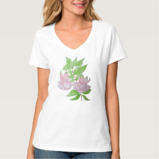 Pink flowers and leaf design original painting art T-Shirt