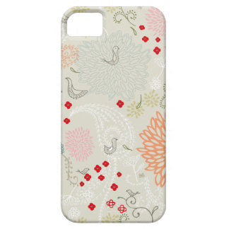 Pink flowers and little birds wallpaper iPhone 5 cover