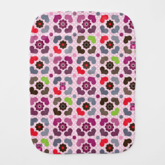 pink flowers and owls pattern burp cloth