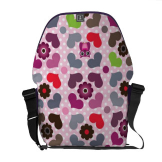 pink flowers and owls pattern courier bags
