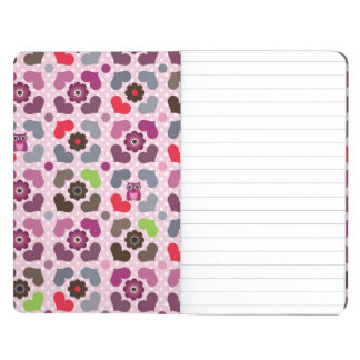 pink flowers and owls pattern journal