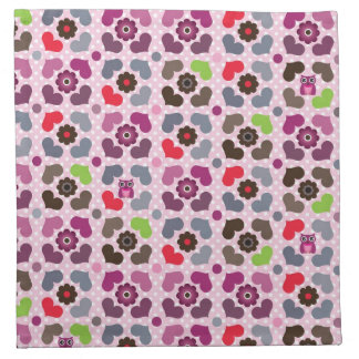 pink flowers and owls pattern napkin