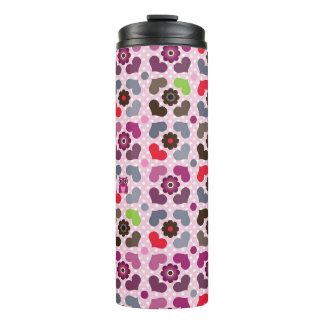 pink flowers and owls pattern thermal tumbler