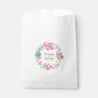 pink flowers and succulents floral watercolor favour bags