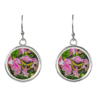 Pink Flowers and the Butterfly Drop Earrings