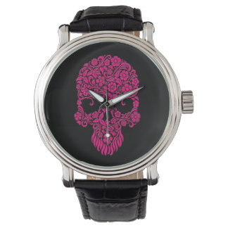 Pink Flowers and Vines Skull Design on Black Watch