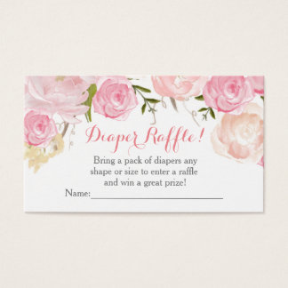 Pink flowers baby shower  diaper raffle cards