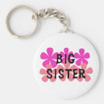 Pink Flowers Big Sister Keychain