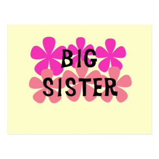 Pink Flowers Big Sister T-shirts and Gifts Postcard
