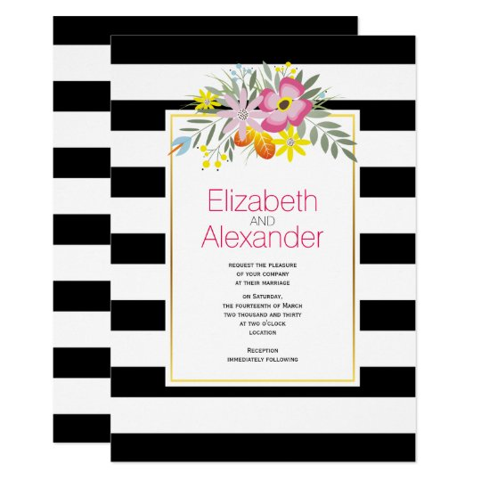 Pink flowers, black white stripes floral wedding card