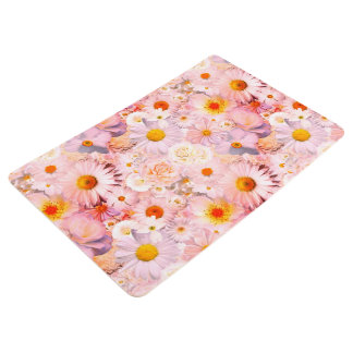 Pink Flowers Bouquet Floral Wedding Bridal Spring Floor Mat