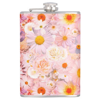 Pink Flowers Bouquet Floral Wedding Bridal Spring Hip Flask