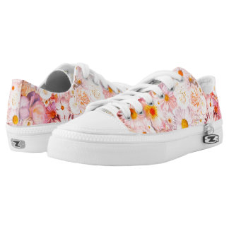 Pink Flowers Bouquet Floral Wedding Bridal Spring Low Tops