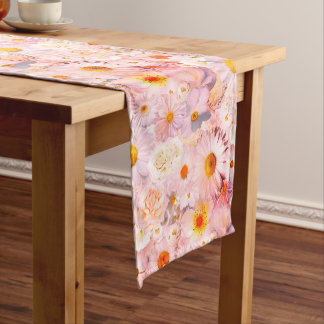 Pink Flowers Bouquet Floral Wedding Bridal Spring Medium Table Runner