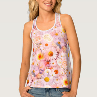 Pink Flowers Bouquet Floral Wedding Bridal Spring Tank Top
