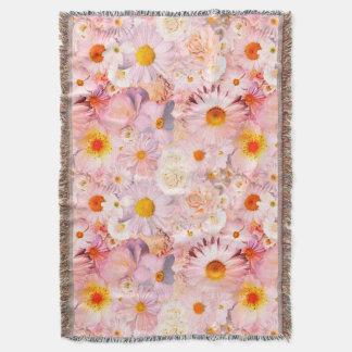 Pink Flowers Bouquet Floral Wedding Bridal Spring Throw Blanket