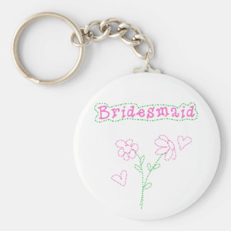 Pink Flowers Bridesmaid Keychains