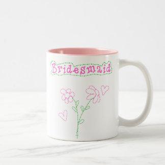 Pink Flowers Bridesmaid Two-Tone Coffee Mug