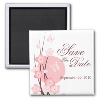 Pink Flowers Butterfly Save the Date Announcement Magnet