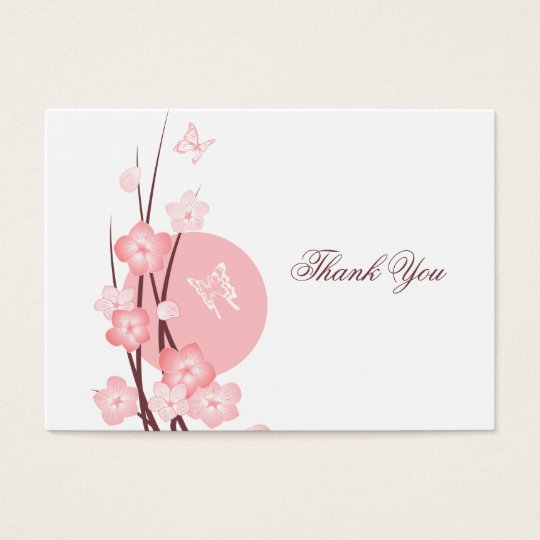 Pink Flowers Butterfly Thank You Card