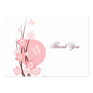 Pink Flowers Butterfly Thank You Card Business Cards