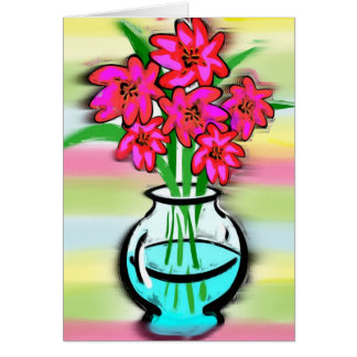 Pink Flowers Note Card