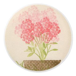 Pink Flowers Ceramic Door Knobs