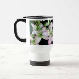 Pink flowers. Clematis. Mug