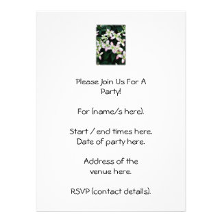 Pink flowers Clematis On White Personalized Invitations