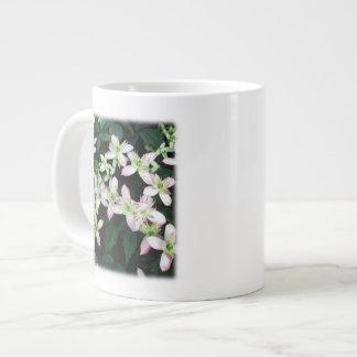 Pink flowers. Clematis. On White. Jumbo Mug