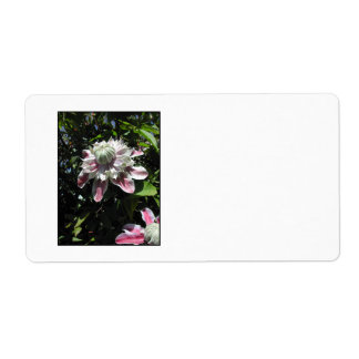 Pink flowers. Clematis. Stylish design. Shipping Label