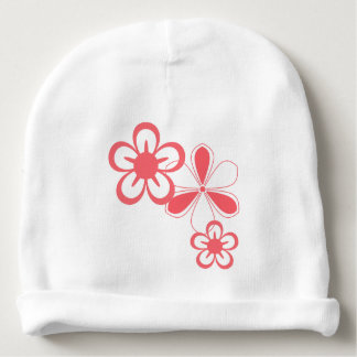 PINK FLOWERS COTTON BABY BEANIE
