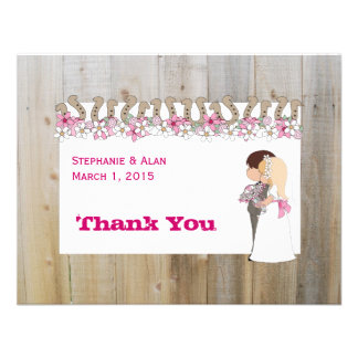 Pink Flowers Country Western Thank You Card Personalized Invites