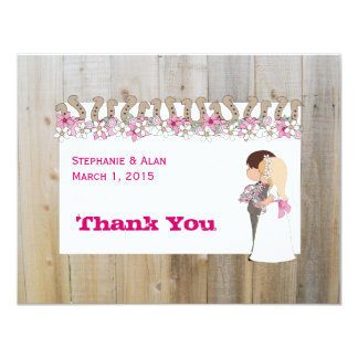 Pink Flowers Country Western Thank You Card 11 Cm X 14 Cm Invitation Card
