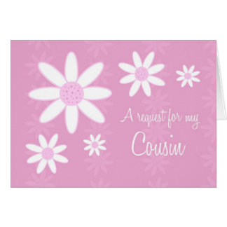 Pink Flowers Cousin Flower Girl Invitation Card